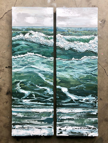 Waves of Relief Diptych, 26x40""