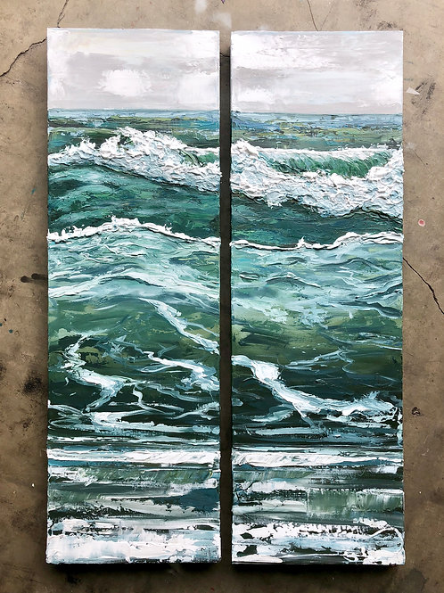 """Waves of Relief Diptych, 26x40"""""""