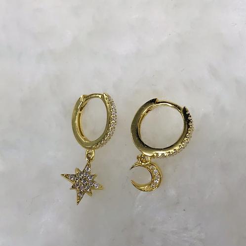 Boucles d'oreilles dorees en acier inoxydable