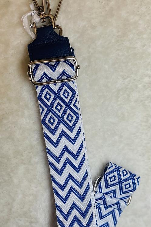 Bandoulière bleu et blanc avec armatures argentées