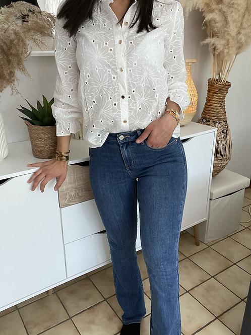 Jeans mid waist bootcut  FABRICE bleu foncé
