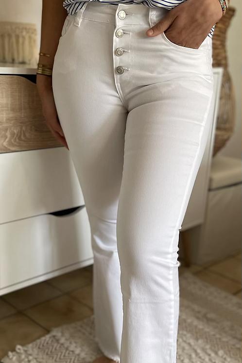 Pantalon blanc boutonné