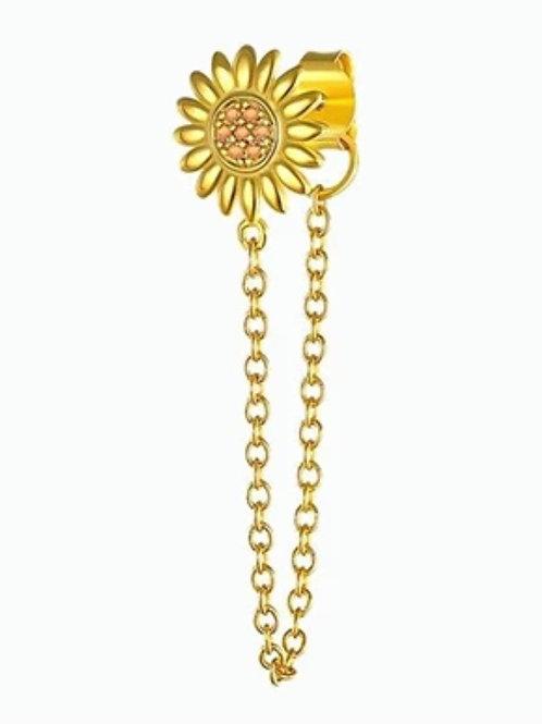 Boucles d'oreilles FLOWER CHAIN dorées