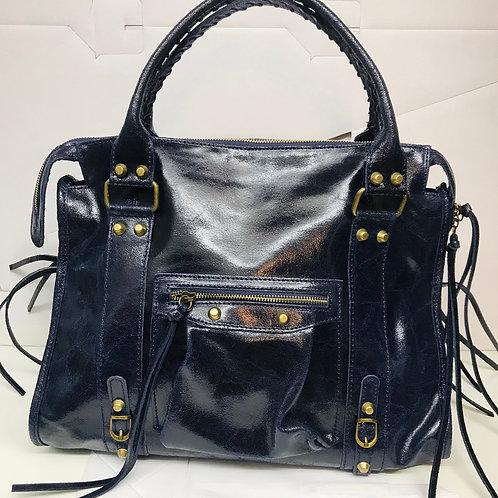 Grand sac en cuir Barbara bleu nuit
