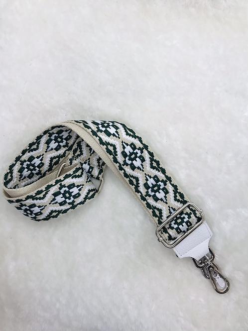 Bandoulière blanc beige et vert avec finitions argentées