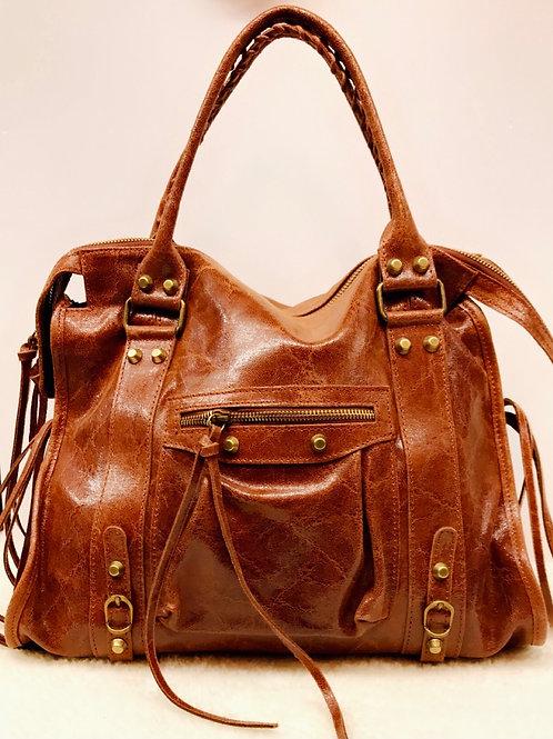 Grand sac SIA en cuir marron