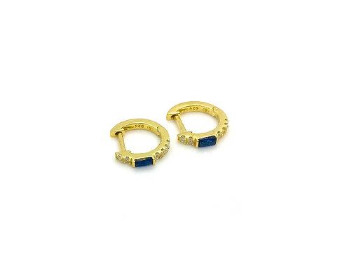 Anneaux avec petits brillants et brillants bleu marine plaqué or