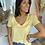 Thumbnail: T-shirt FABY en coton jaune col V