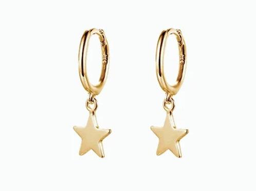 Boucles d'oreilles en plaque or STAR HOOP