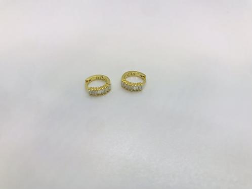 Petits anneaux avec brillants plaqué or