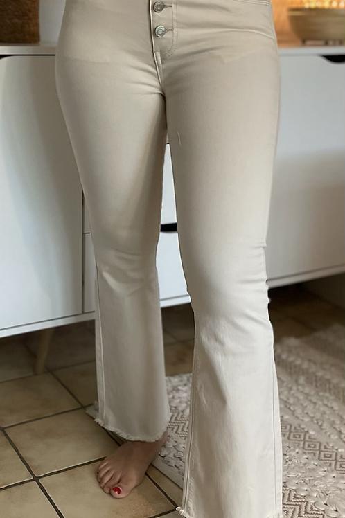 Pantalon écru boutonné