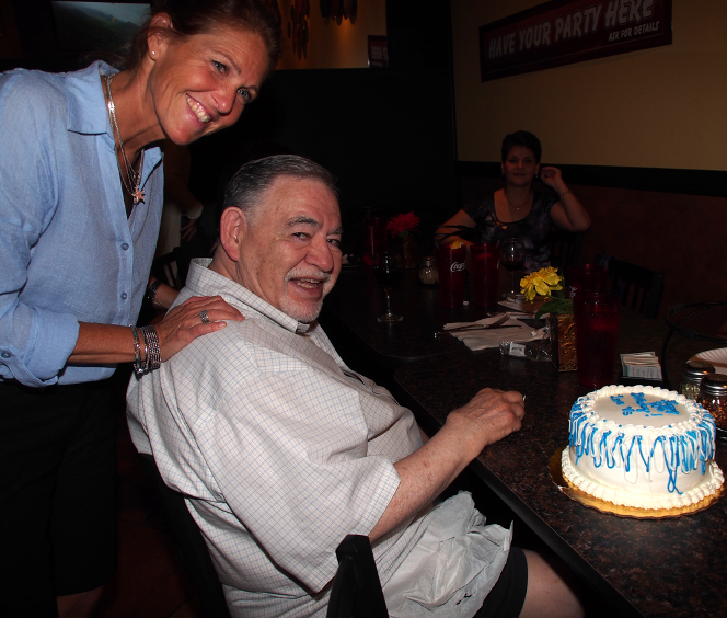 A photo of my dad and my sister, Robin, in Tampa at Dad's 80th Birthday Party.