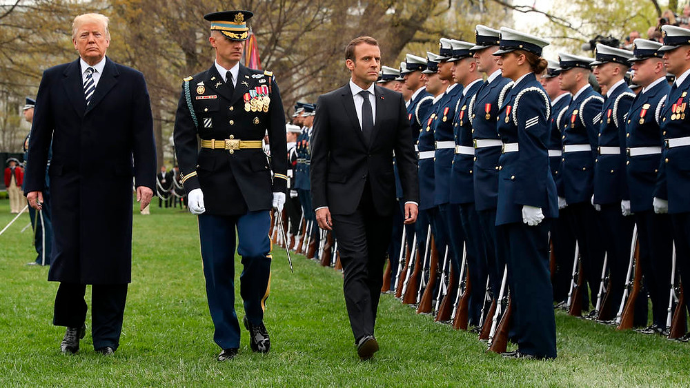 President Trump and French President Macron review US troops on the South Lawn of the White House in April 2018. Photo credit: whitehouse.gov.