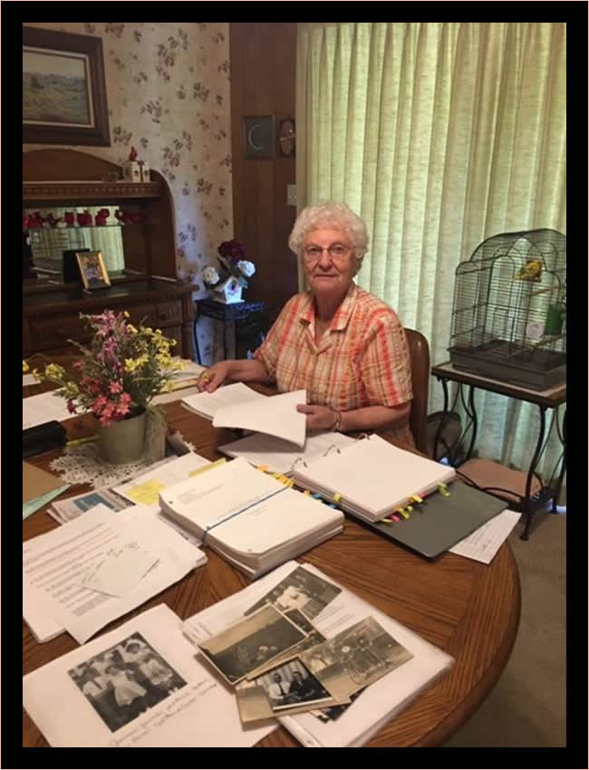Mildred at work on the memoir