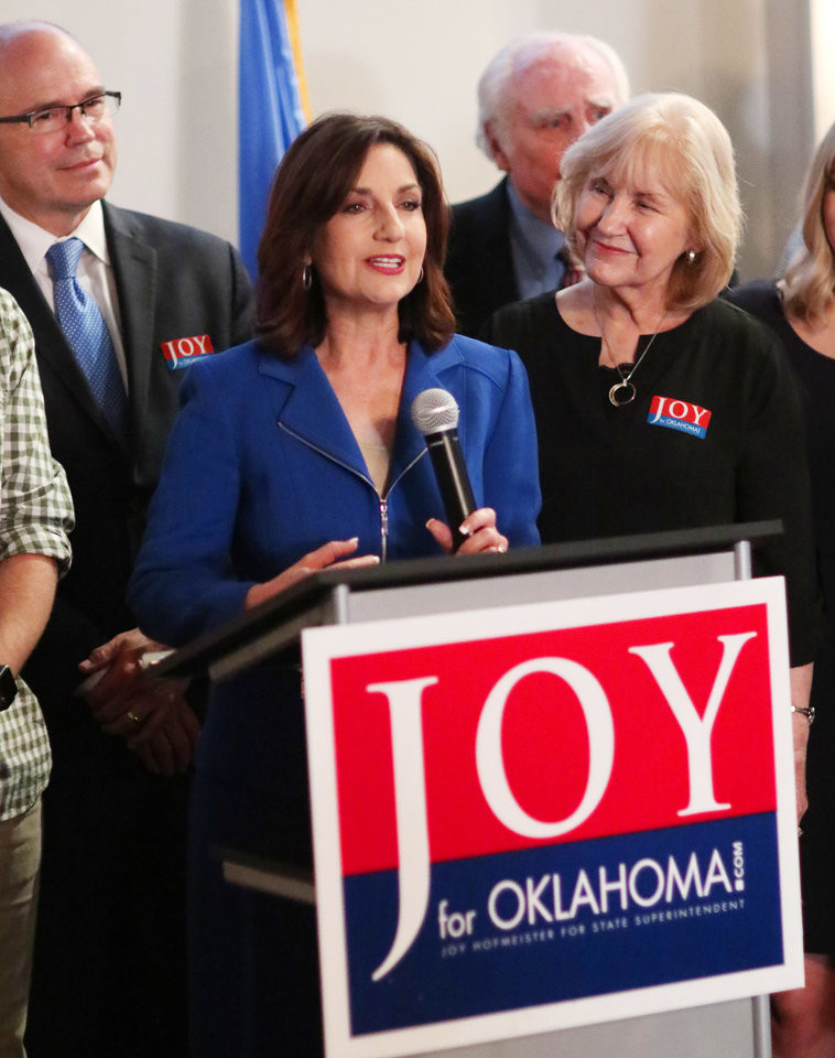 Joy Hofmeister, candidate for Oklahoma Schools Superintendent, gives her victory speech at her Republican runoff watch party.