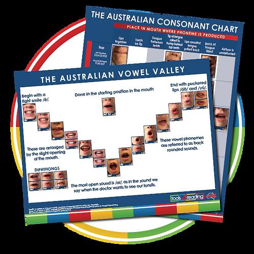 Australian Consonant Chart & Vowel Valley Poster Set