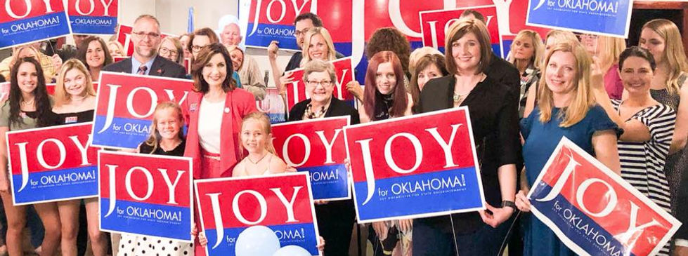 Joy with supporters at Watch Party.