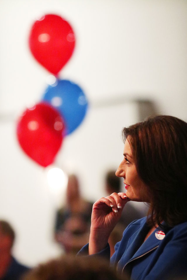 Joy Hofmeister, candidate for Oklahoma Schools Superintendent, watches a TV for results at her Republican runoff watch party.