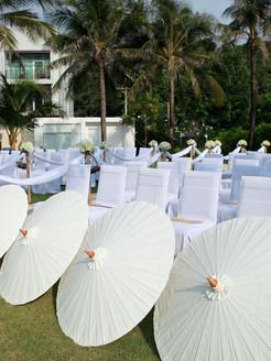White Parasols at 500 baht net per each.
