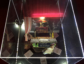 Tableau 4, top view. LED lights, acrylic vitrine, cuttings and print outs from archive of images collected during research, pieces of readymade 3D paper puzzles, glue and black mount board. Dimensions of vitrine: 18 in. x 18 in. x 12.5 in.