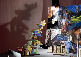 3D and 2D objects in front of the collaged landscape