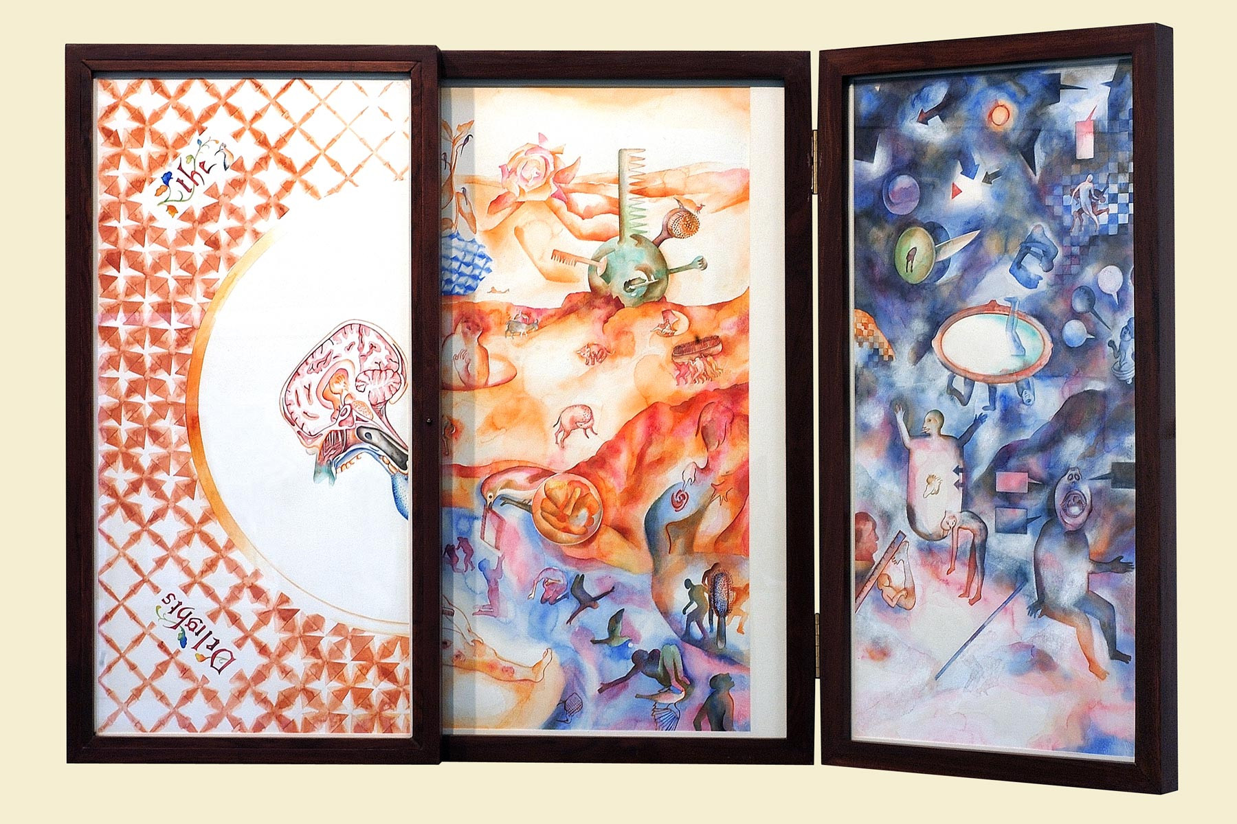 The Garden of Delights (triptych). Right door open to reveal the triptych inside.
