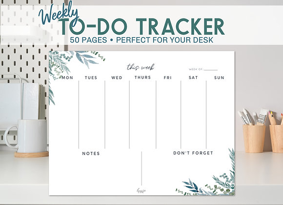 Weekly To-Do List Notepad -Blue Botanical