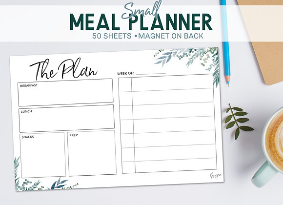 Small Meal Planner Notepad- Blue Botanical