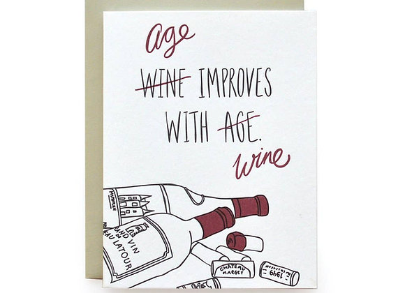 Age Improves With Wine Birthday Card
