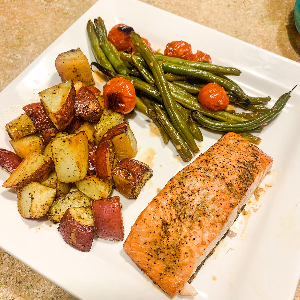 Baked Honey Balsamic Salmon, Roasted potaotes, and green beans with cherry tomatoes.