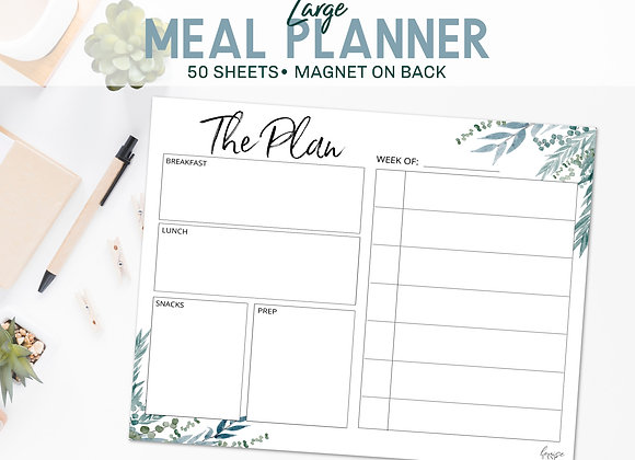 Large Meal Planner Notepad- Blue Botanical