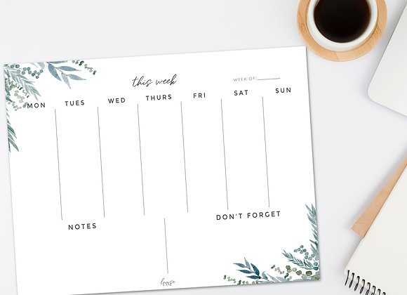 Weekly Planner Notepad - Large