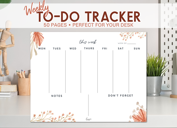 Weekly To-Do List Notepad -Desert Floral