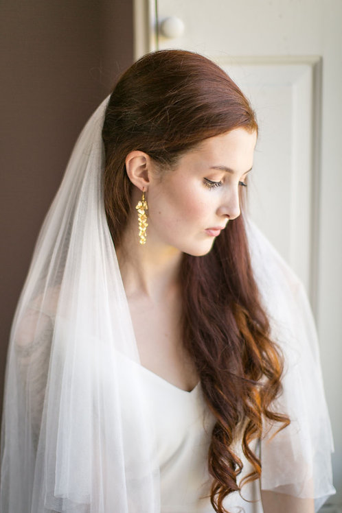 Gold Dust Orchid Bridal Earrings