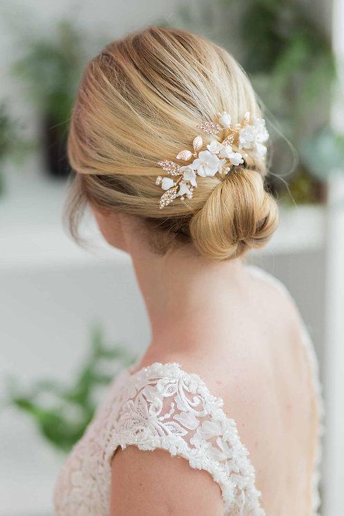 Vanessa Clay Flower Wedding Hair Pin