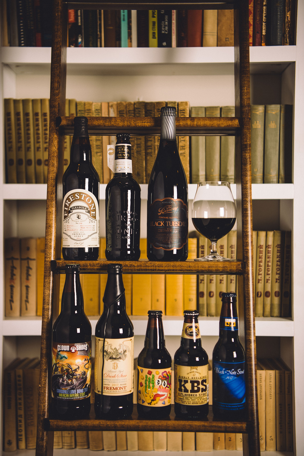 a collection of barrel-aged beers, including goose island bourbon county stout