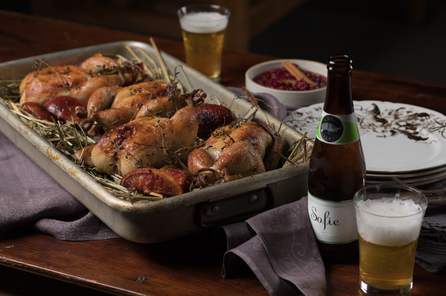 Here is how to make a fancy cornish hens on hay dinner with a side of some goose island craft beer