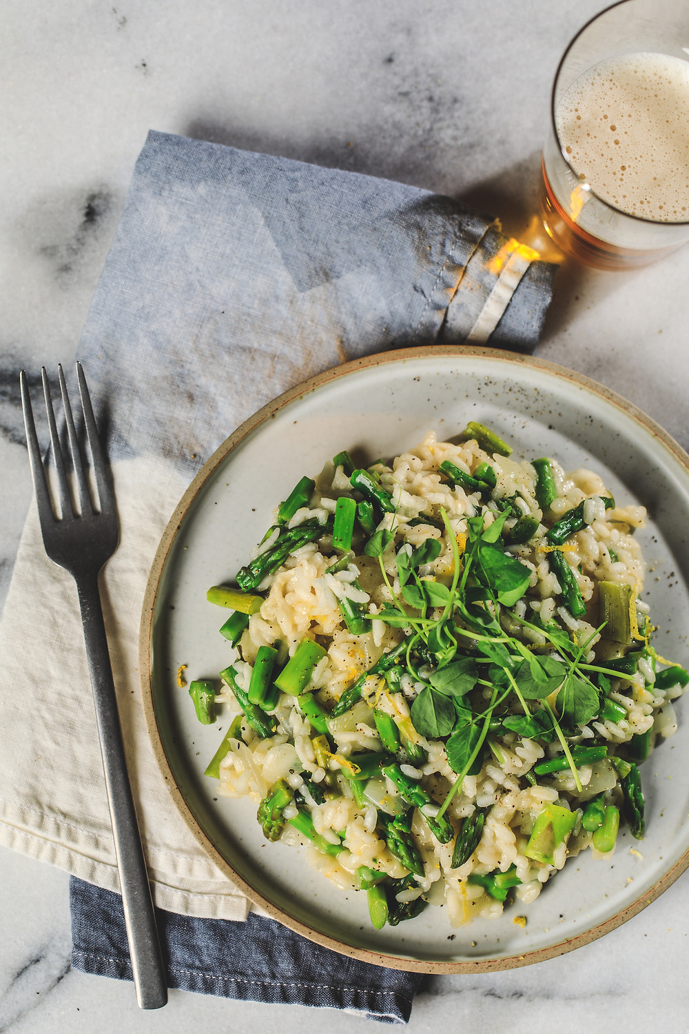 Lemon Asparagus Risotto with a Goose Island craft beer