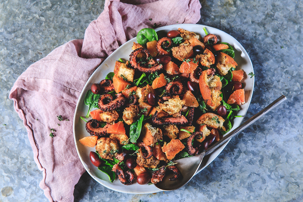 Grilled octopus panzanella salad