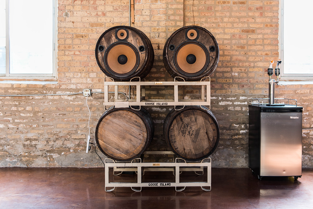 An excellent DIY project to turn old beer barrels into speakers for playing music