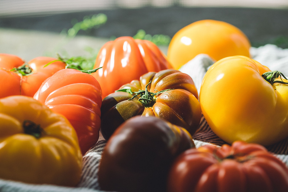 A variety of tomatoes and other vegetables to enjoy for dinner