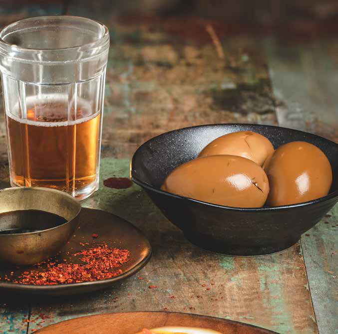Beer-Cured Ajitsuke Eggs with a goose island craft beer