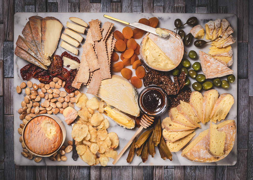 An artful cheese board to snack on before dinner
