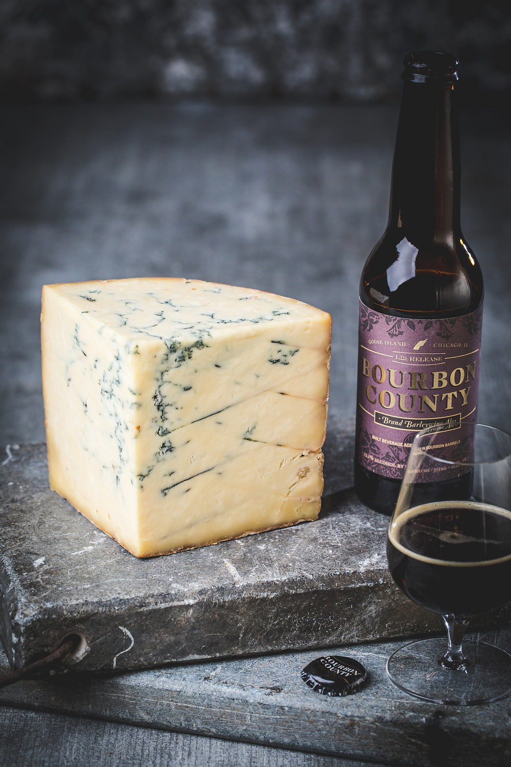 A classy cheese and beer pairing of Goose Island Bourbon County Stout