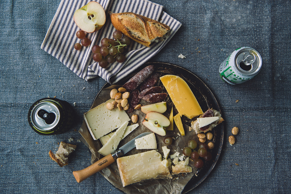 A snack and cheese plate to enjoy in the city with goose island craft beer
