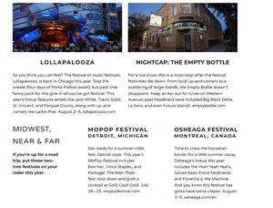 Great places to check out live music during the summer include Lollapalooza and the Empty Bottle in Chicago