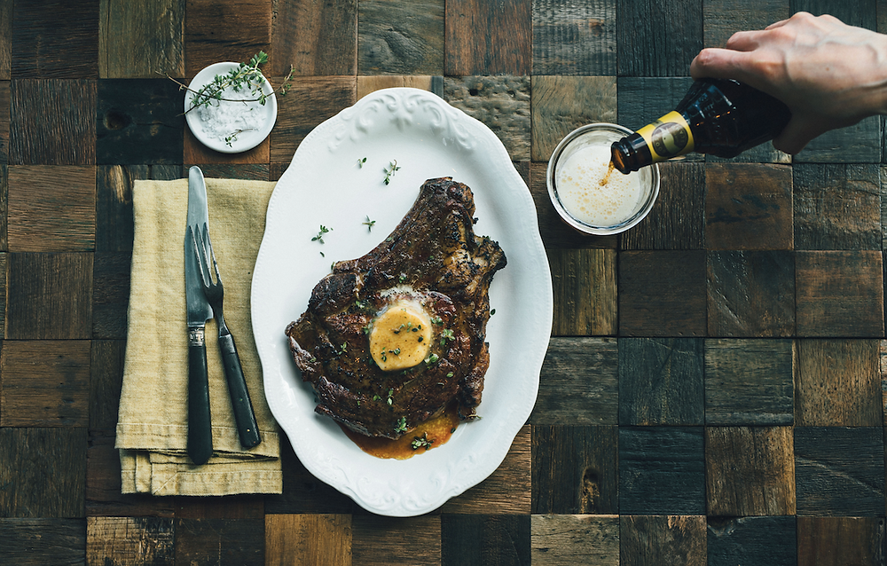 Beef butter recipe with a side of goose island craft beer