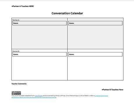 Conversation Calendar Physically Distanc