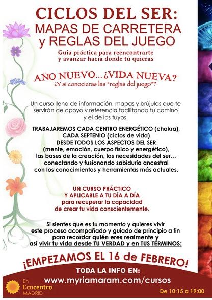CURSO CICLOS DEL SER Y TALLER GRATUITO (domingo 26 enero)