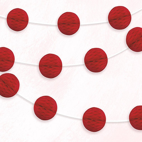 Paper Honeycomb Hanging Garland -Red